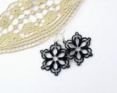 Floral earrings, black, winter fashion, handmade, handmade lace
