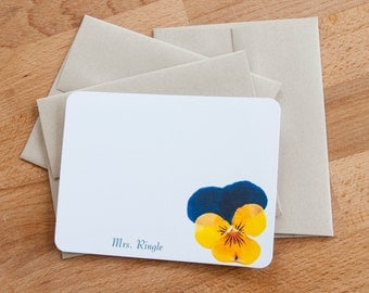 Stationary Set - Pansy - Personalized Stationery Note Cards