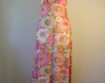 1960s Pink Floral Lurex Maxi Dress