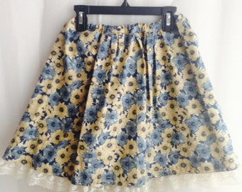 SALE! Vintage Flower with Lace High waist Skirt (S)