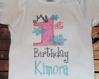 """Personalized """"My First Birthday"""" Snowflakes T-shirt - Bodysuit"""