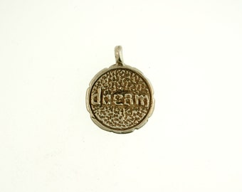 Dream Charm, Solid Bronze Charm, Hill Tribe Charm, White Bronze, Small Charm - 1 Piece