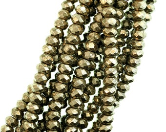 Faceted Pyrite Beads, 6x4mm Pyrite Rondelles, Golden Natural Pyrite, Full Strand - (1) 16 Inch Strand (Approx. 102 beads)
