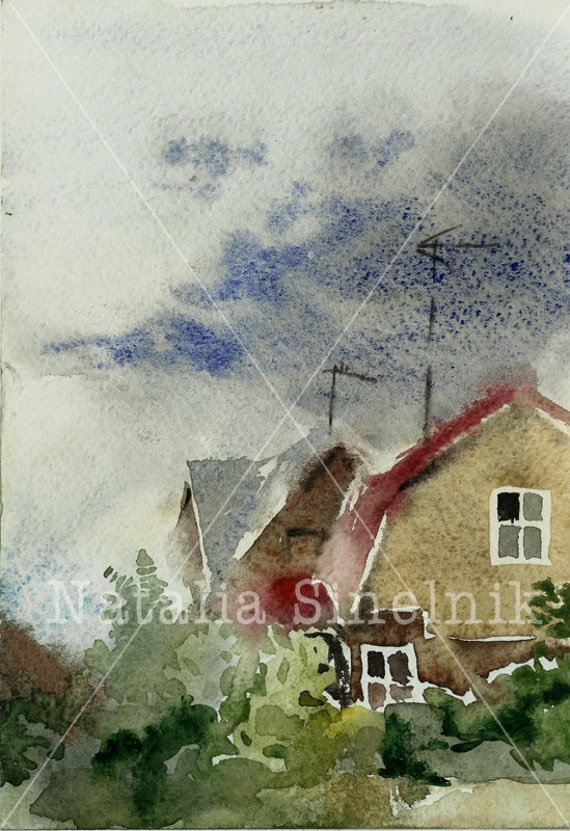 Country view architectural landscape digital download from original watercolor wet style village clipart with buildings