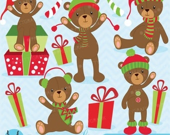 80% 0FF SALE Christmas Teddy bear clipart commercial use, vector graphics, digital clip art, digital images  - CL608