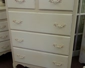 French Tall Chest Two Tone Old Ochre & Old White Philly Area Pick Up