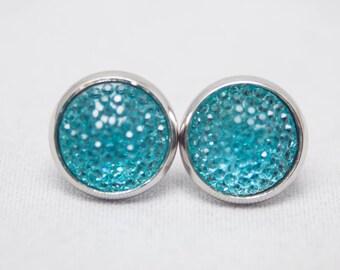 Druzy Style  Cabochon Earrings - Aqua - Silver Setting - One Pair