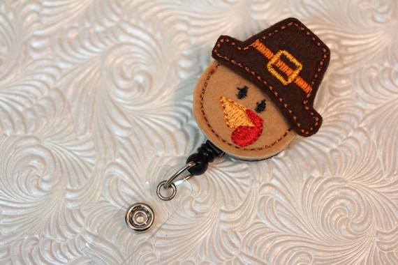 Thanksgiving Turkey feltie professional nursing badge holder - retractable badge holder - badge reel- name badge holder