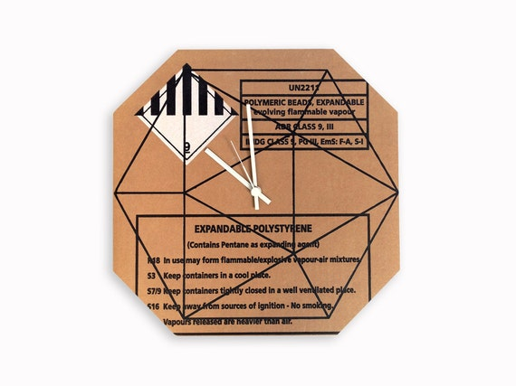 Cardboard geometrical pattern wall clock, home and office decor