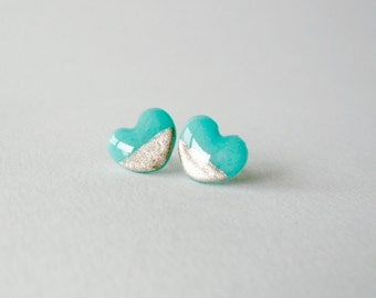 Mint gold dipped heart post earrings- Modern girly jewelry