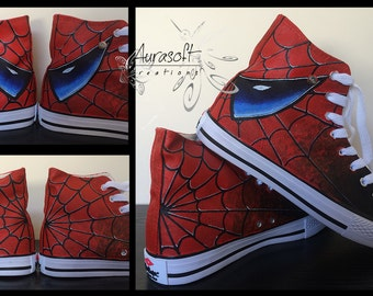 Custom Painted Hi Top Canvas Spiderman and Venom Shoes