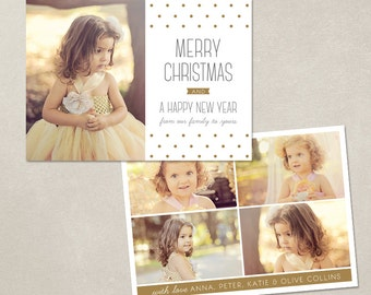 Digital Photoshop Christmas Card Template for photographers PSD Flat card - Modern Dots CC016 - INSTANT Download