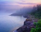 Landscape Photography, Foggy Evening Mood, Lake Superior, North Shore, Fine Art Print, Blue Pink Purple, Fog Mist, Rocky Beach, Home Decor
