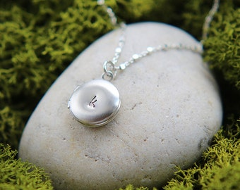 Locket Necklace, Initial Locket, Personalized Locket Necklace, Round Locket, Small Silver Locket, Initial Necklace, Personalized Necklace