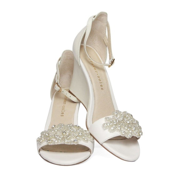 white ivory wedge shoes with by foreversoles