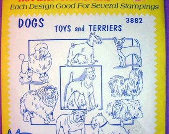 Aunt Martha's Dogs Toys and Terriers Hot Iron Transfer Pattern 3882 Poodle,Schnauzer,Chihuahua,Shih Tzu,Pekingnese,Bulldog,Scottie,Airedale