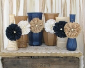 Vases,Hand Painted Flower Vases, upcycled flower vases, Rustic wedding centerpieces Shabby Chic, Navy Blue, Tan And Creme Wedding