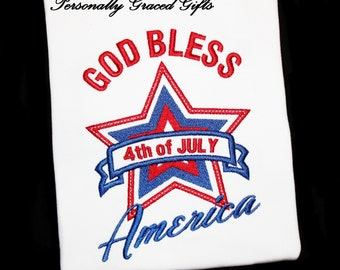 4th of July Patriotic God Bless America with Star Custom Embroidered Shirt or Bodysuit for Kids or Adults