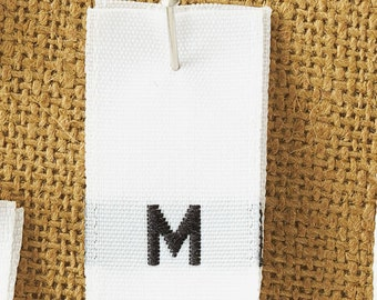 100 Woven Size Tabs, Size Labels, Size M, Size and Care Labels, Style 4