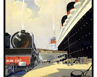 France Le Havre New York 1950s - Print