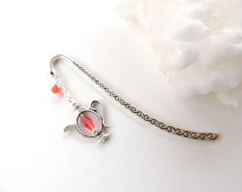 Teapot Bookmark, Crystal Bookmark, Meatal Bookmark, Gift for Her, Stocking Stuffers, Teapot Charm. B122