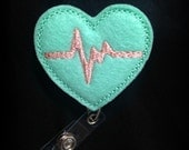 Light Mint Green EKG Badge Reel-Nursing Badge- Heart Id Holder- Feltie Retractable Badge