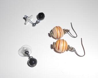 Vintage pierced earrings, Murano Glass beaded earrings, 2 pairs Free USA Shipping