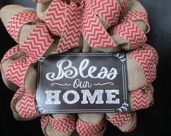 Bless our home wreath,welcome burlap wreath,door decor,natural home wreath,everyday door decor,chevron wreath