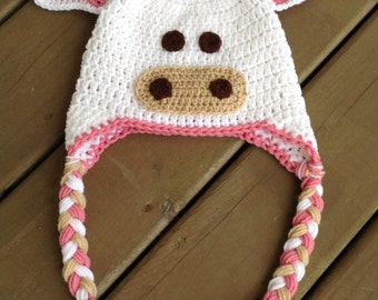Kids Cow Hat, Cow Hat, Baby Crochet Hat, Newborn Photo Prop, Infant Cow Hat