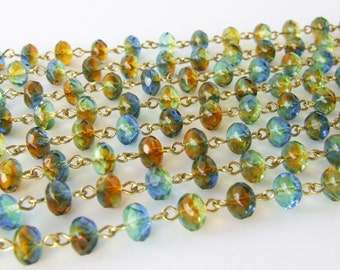 Rosary Chain - Transparent Beaded Chain - Czech Glass Bead Chain - Multi Color Amber Green Blue Bead - Solid Brass Wire Links
