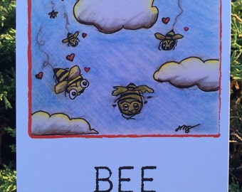Bee Mine - Bee/Zom-BEE/Zombie Bee Flat  Greeting Card - Valentine's Day