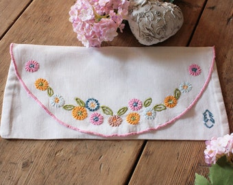 French Vintage Pretty Embroidered Pocket or Pouch with Monogram E.S.
