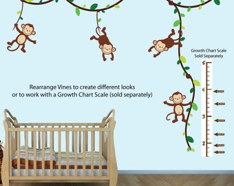 Monkey Wall Decal Growth Chart, Swinging Monkeys on Vines, Nursery Wall Decal Art (GreenBrown_Growth), MVDG