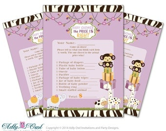 Girl Cocalo Jacana Price is Right Game Printable Card for Baby Cocalo Jacana  Shower DIY Purple Jungle - ONLY digital file - ao22bs12