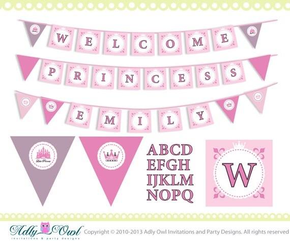 super welcome princess and name banner baby shower printable. Black Bedroom Furniture Sets. Home Design Ideas