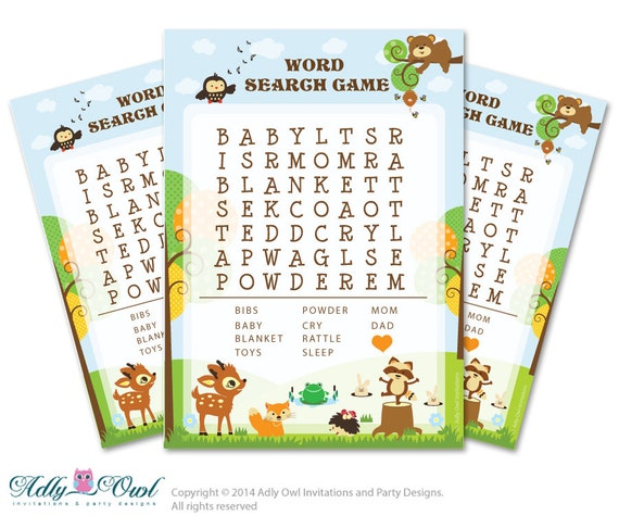 Forest Animals Word Search Game, Word Search Game