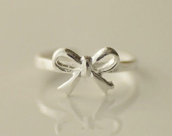 925 Sterling Silver Bowknot Adjustable Tail Ring 026