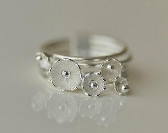 925 Sterling Silver Flower Blossom Spring Lovely Cute Simple Ring 365
