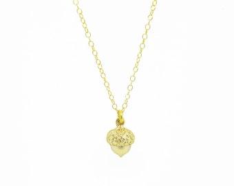 9ct Gold Acorn Necklace - 9ct Gold Acorn Pendant - Tiny Acorn Necklace - Gold Acorn Charm - Autumn Necklace - Dainty Necklace