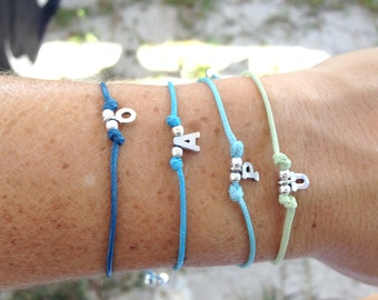 Personalized Tiny Initial Sterling Silver Letter Bracelet with Cotton Adjustable Cord for yourself or someone special