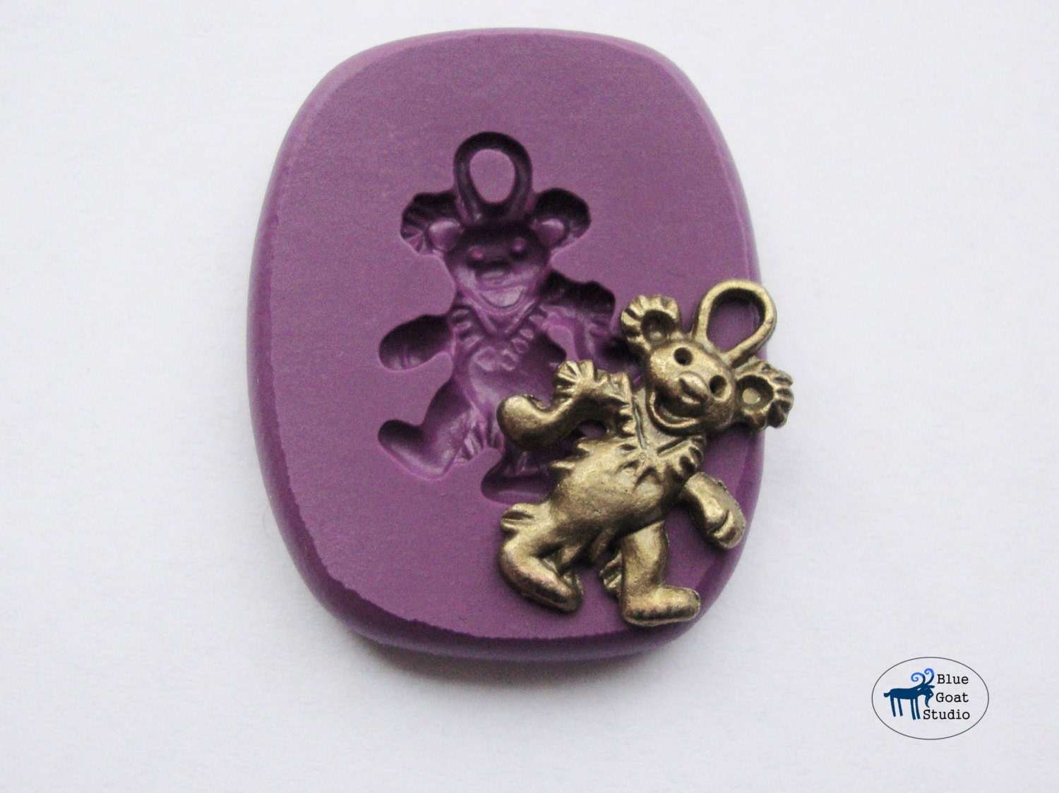 Dancing Bear Charm Mold  Grateful Dead Mold  Minimold Silicone Molds   Polymer Clay