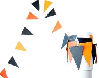 Black and Orange Halloween Flag Garland - Halloween Garland, halloween decoration, party decor, kids room decor, black and orange garland