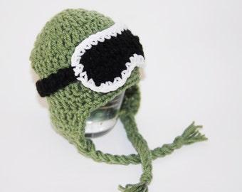 Newborn Snowboard/Ski Hat Earflap Hat and Goggles-Green