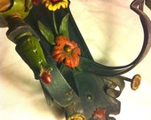 Antique Cast Iron Light Fixture Wall Mount Candle Sconce Holder Floral Flower Torch Architectural Salvage Lighting