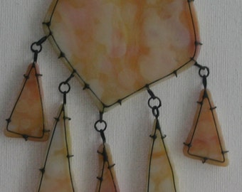 yellow dotted stained glass pedant, wearable from both sides, transparent