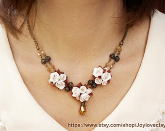 statement necklace, antique necklace , flowers necklace , Antique jewelry , bronze, polymer clay, handmade jewelry