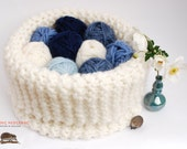 Knitted Bowl - Big Knit Basket Knitted organiser for your knitting - Hand Knit Soft Bowl White - KnittingHedgehog