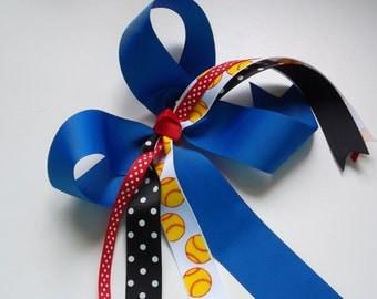 Softball Bows Sports Ponytail Holder Softball Pony Bows Royal Blue and Red Soccer Basketball