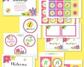 Flower Party Printable Collection, Custom Printable Birthday Party Invitation, Garden Theme, Bees, Ladybugs, butterfliels