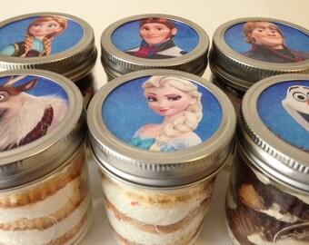 6 (8oz) Cupcakes In A Jar-Mason Jars-Frozen-Frozen Favors-Frozen Themed Party-Anna-Olaf-Elsa-Disneys Frozen-Elsa Favors-Olaf Favors